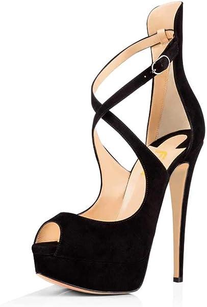05aeefabb253 FSJ Women Gorgeous Peep Toe Platform Pumps Cross Strap High Heels Sandals  Party Shoes Size 4