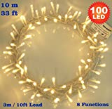 Fairy Lights 100 LED Warm White String Lights 10 meter of Clear Cable - Low Voltage Power Operated for Indoor and Outdoor Us