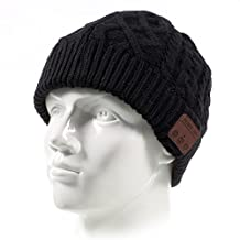 Del-Digital Outdoor Sports Wireless Bluetooth Hat Beanie Warm Cap With Two Stereo Speakers And MIC Music Headphone/Headset Hat For Man Woman Hands-free Phone Call /Music Thicker Knitted Fluffy Hat (Black)