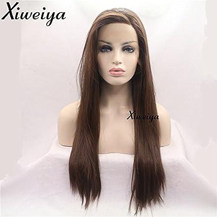 xiweiya seda larga recta pelo natural marrón lado parte sintético Lace Front Peluca para mujer sin