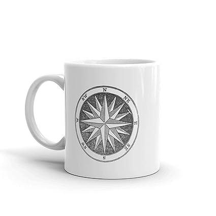 Amazon.com: Compass Mug Design From Vintage 1849 Book 11oz ...