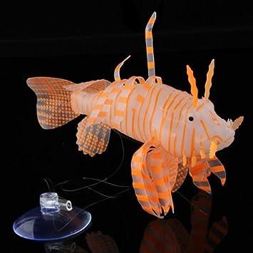 Pez Plástico Artificial Decoración para Acuario Pecera Naranja Blanco 13cm: Amazon.es: Hogar