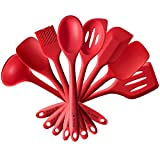4YANG Silicone Spatula Cooking Utensil Set Heat Resistant Kitchen Gadgets (8 Pieces)-Includes:Turner, Slotted spoon , Ladle ,Spoon, Spoon Spatula, Spoonula, Spatula & Basting brush (Red)