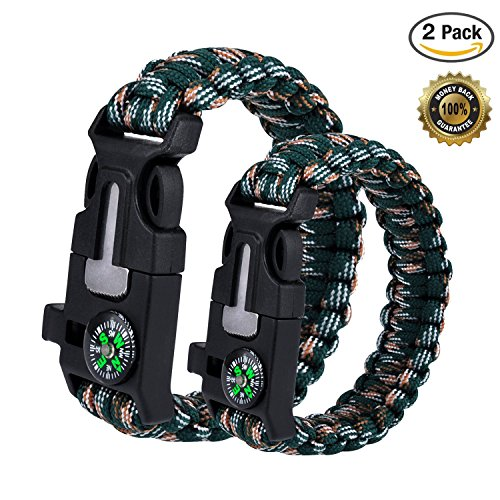 WePower 2PCS Survival Bracelet, Outdoor Survival Paracord Bracelet Kit with Compass, Whistle, Knife, Flint Fire Starter for Camping Hiking Fishing Running ()