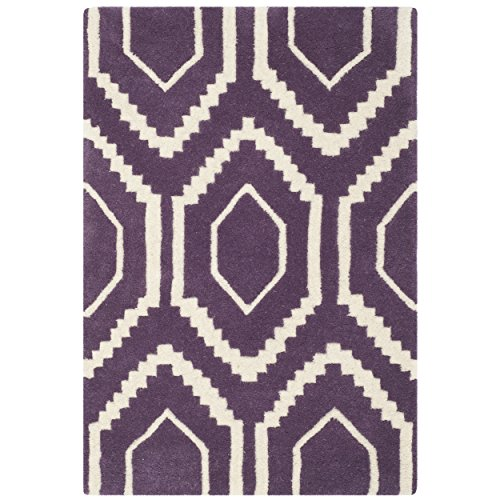 Safavieh Chatham Collection CHT731F Handmade Purple and Ivory Premium Wool Area Rug (2' x 3') (2x3 Purple Rug)