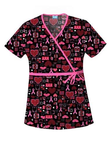 Hq Mock Wrap - Scrub HQ 4788C Women's Cotton Mock Wrap Print Scrub Top Caring For The Cause X-Small