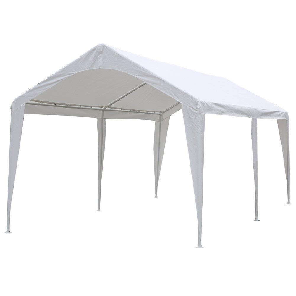 Abba Patio 10 x 20-Feet Light Portable Carport Canopy with 6 Steel Legs, White