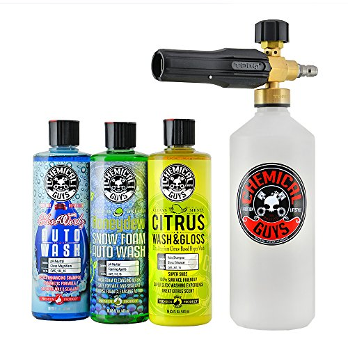 Chemical Guys HOL145 Torq Foam Cannon Snow Foamer and 3 Premium Soaps, 16 fl. oz, 4 Items