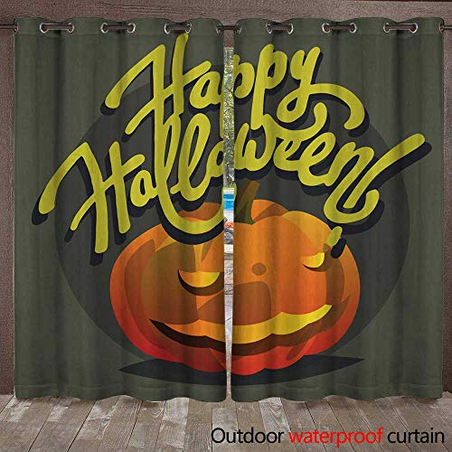 Outdoor Ultraviolet Protective Curtains Happy Halloween Hand Drawn Lettering Postcards with Pumpkin W72 x L84 -