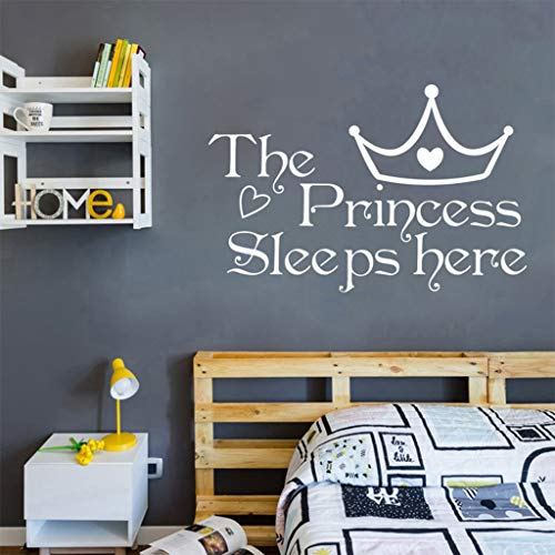 NIHAI Art Letter Princess Crown Wall Sticker, Peel and Stick Removable DIY Art Mural Decal for Kids Bedroom Living Room Coffee Shop Sofa Background Home Decor