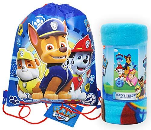 Paw Patrol / Northwest Fleece Throw Blanket & Sling Bag Chase Marshall - 2 pc Set (Blue)