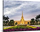 Scott Jarvie Gallery-Wrapped Canvas entitled Fort Lauderdale Florida Temple, Sunset Flowers, Davie, Florida
