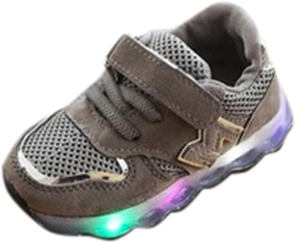 JiaMeng Zapatos de Bebé Viaje Antideslizantes Niños Bebés Zapatillas Niños Zapatos de Malla Zapatos de bebé para niños Zapatillas de Deporte con luz LED iluminadas