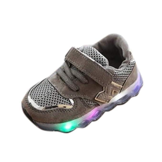JiaMeng Zapatos de Bebé Viaje Antideslizantes Niños Bebés Zapatillas Niños Zapatos de Malla Zapatos de bebé para niños Zapatillas de Deporte con luz LED ...
