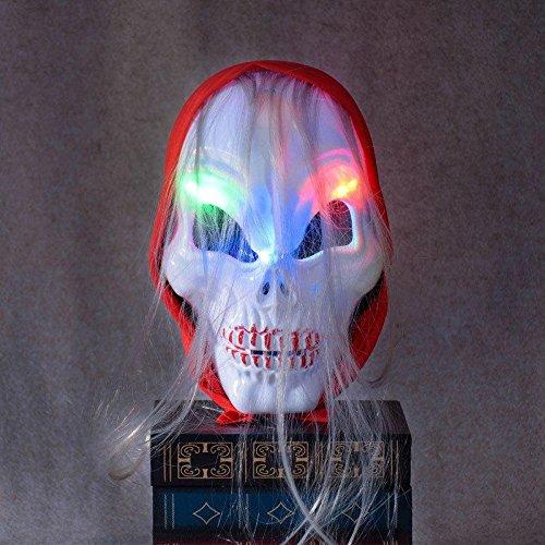 Guided Illumination Cloak - Halloween Horror Skull Ghost Led Light Mask Red Headscarf Hheadband Luminescent Party - Featherlike Pastel Conducted Illuminate Masquerade Reddened - 1PCs