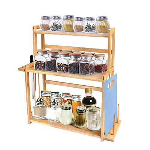 Bamboo Spice Rack, 3-Tier Standing Seasoning Bottle Holder Shelf with Knife Block Cutting Board Rack and Dish Rack, Kitchen Bathroom Countertop Storage organizer ()
