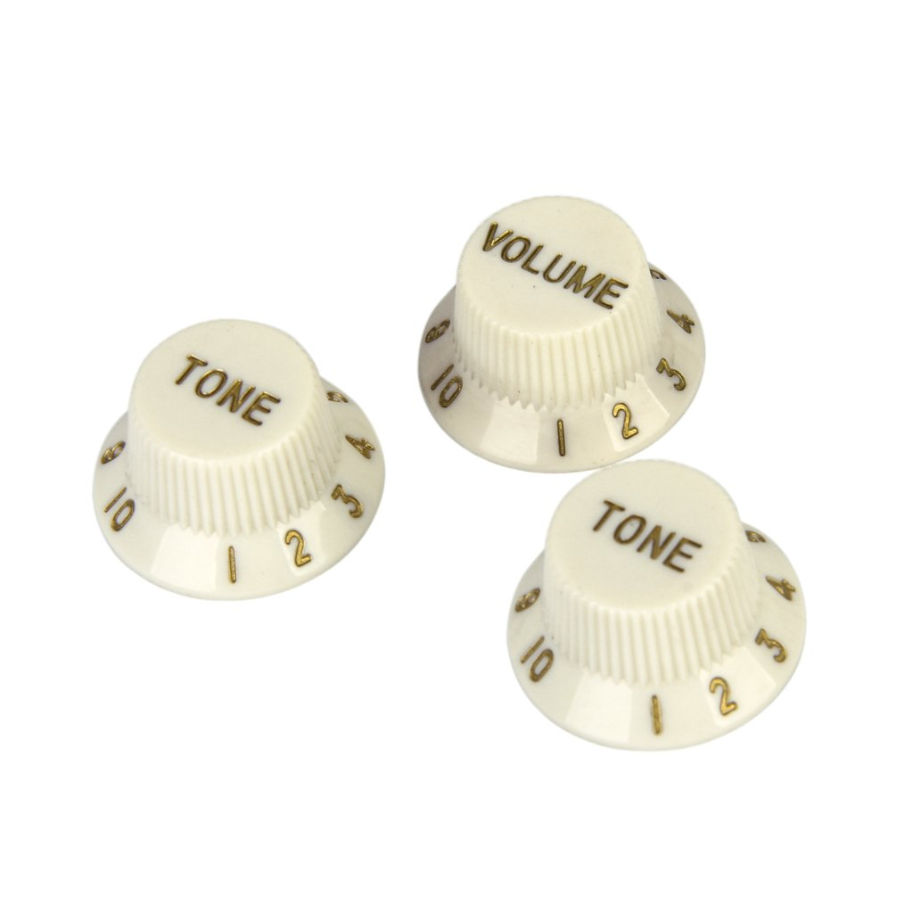 Set of 3 Parchment Speed Volume Tone Knob w/ Golden Brown Detail for Electric Pickup Guitar Generic STK0115005272