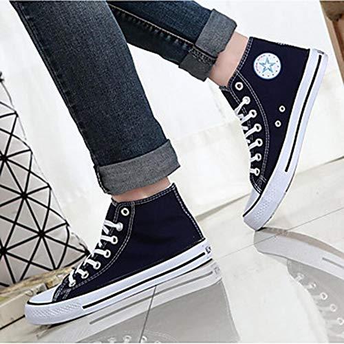 Légères Bout Automne Chaussures Basket Drapée Toile UK3 Semelles Rouge Talon US5 5 EU36 5 Rond Plat TTSHOES Femme Printemps Bleu Noir CN35 Blue YIxqv
