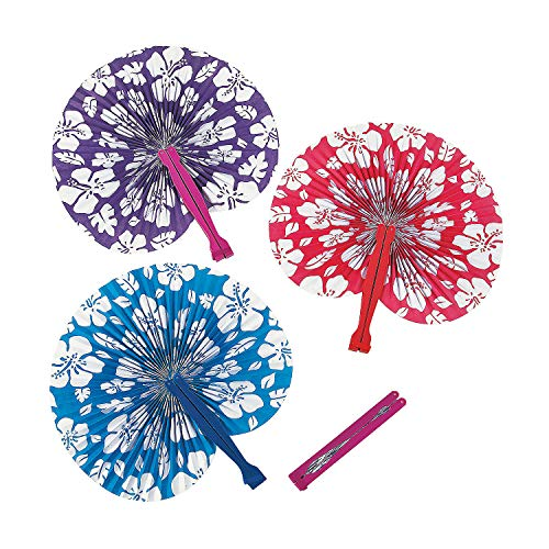 (Fun Express - Paper Hibiscus Print Folding Fans for Summer - Party Supplies - Favors - Fans - Summer - 12 Pieces)