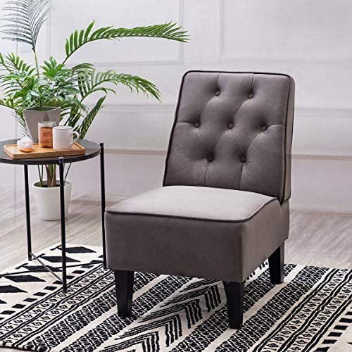 Alunaune Modern Armless Accent Chairs Upholstered Slipper Chair Small Couch Tufted Button Sofa Bedroom Chair
