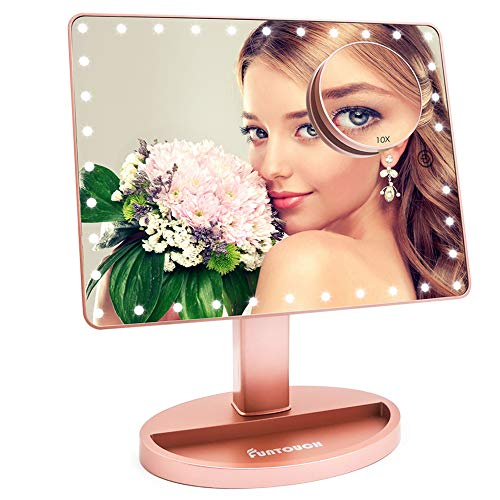 Large Lighted Vanity Makeup Mirror (X-Large Model), Funtouch Light Up Mirror with 35 LED Lights, Touch Screen and 10X…