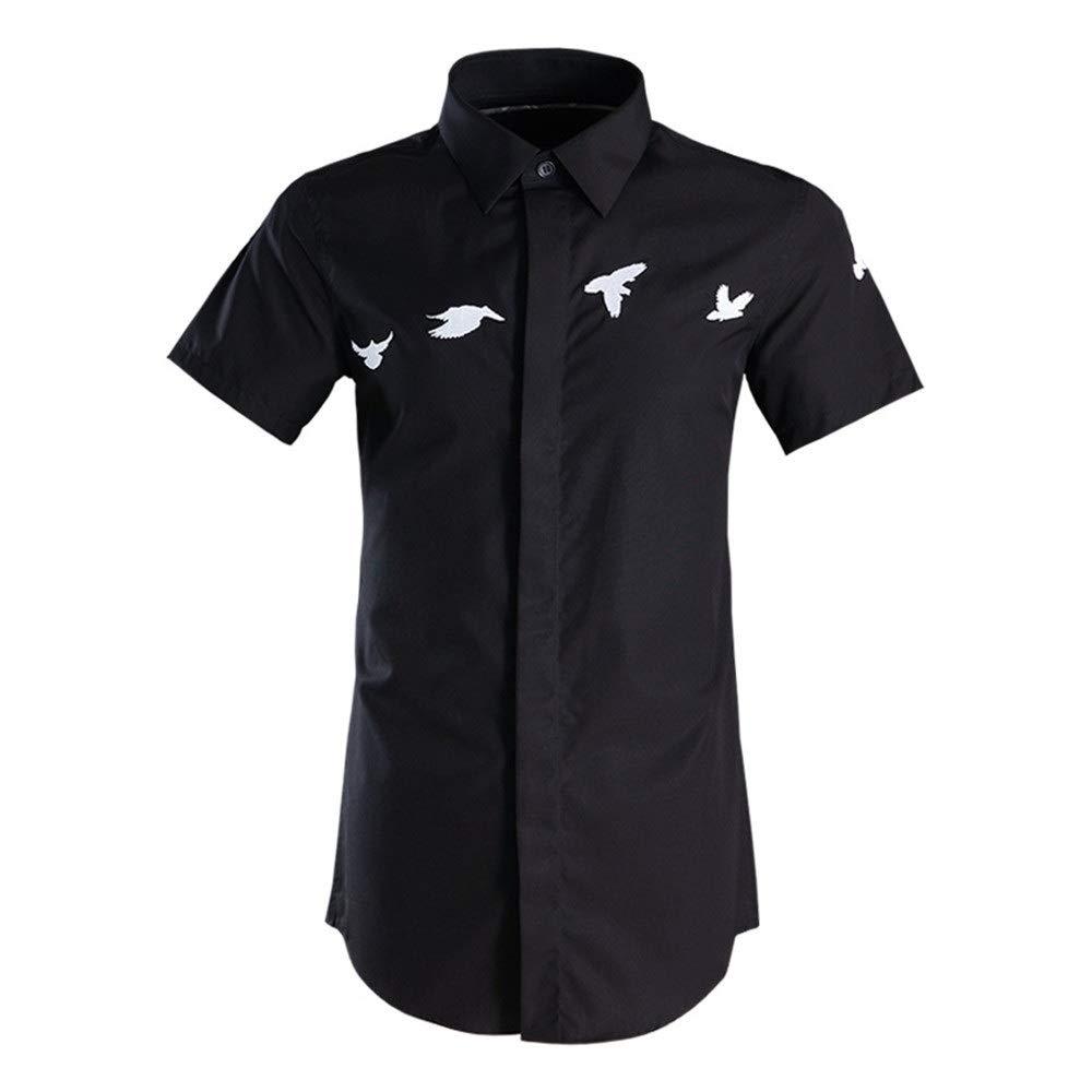 Noir XX-grand Susulv-MCL Chemise Homme Chemises à Manches Courtes pour Hommes pour Hommes d'affaires décontractée Travail avec Boutons Chemise de Ville boutonnée Chemise en Coton pour Adolescents Chemises Décontracté