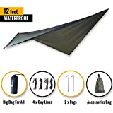 CityBear 12 ft HAMMOCK WATERPROOF RAIN FLY/Ultralight Camping Tent Tarp/Hunting Rainfly Shelter/UV Proof Sun Shade/Outdoor Backpacking Base Camp Multi-purpose All-Weather Survival Gear