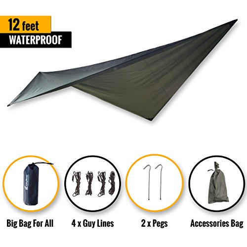 CityBear 12 ft Hammock Waterproof RAIN Fly/Ultralight Camping Tent Tarp/Hunting Rainfly Shelter/UV Proof Sun Shade/Outdoor Backpacking Base Camp Multi-Purpose All-Weather Survival Gear by CityBear