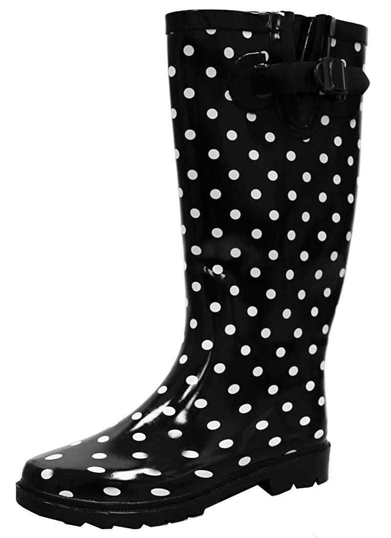 Black White Dot Cambridge Select Women's Waterproof Pattern Print Knee High Welly Rain Boot