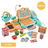 gutlangg Cash Register with Checkout Scanner,Microphone,Calculator Food Shopping Play Set for Kids Play House Toy