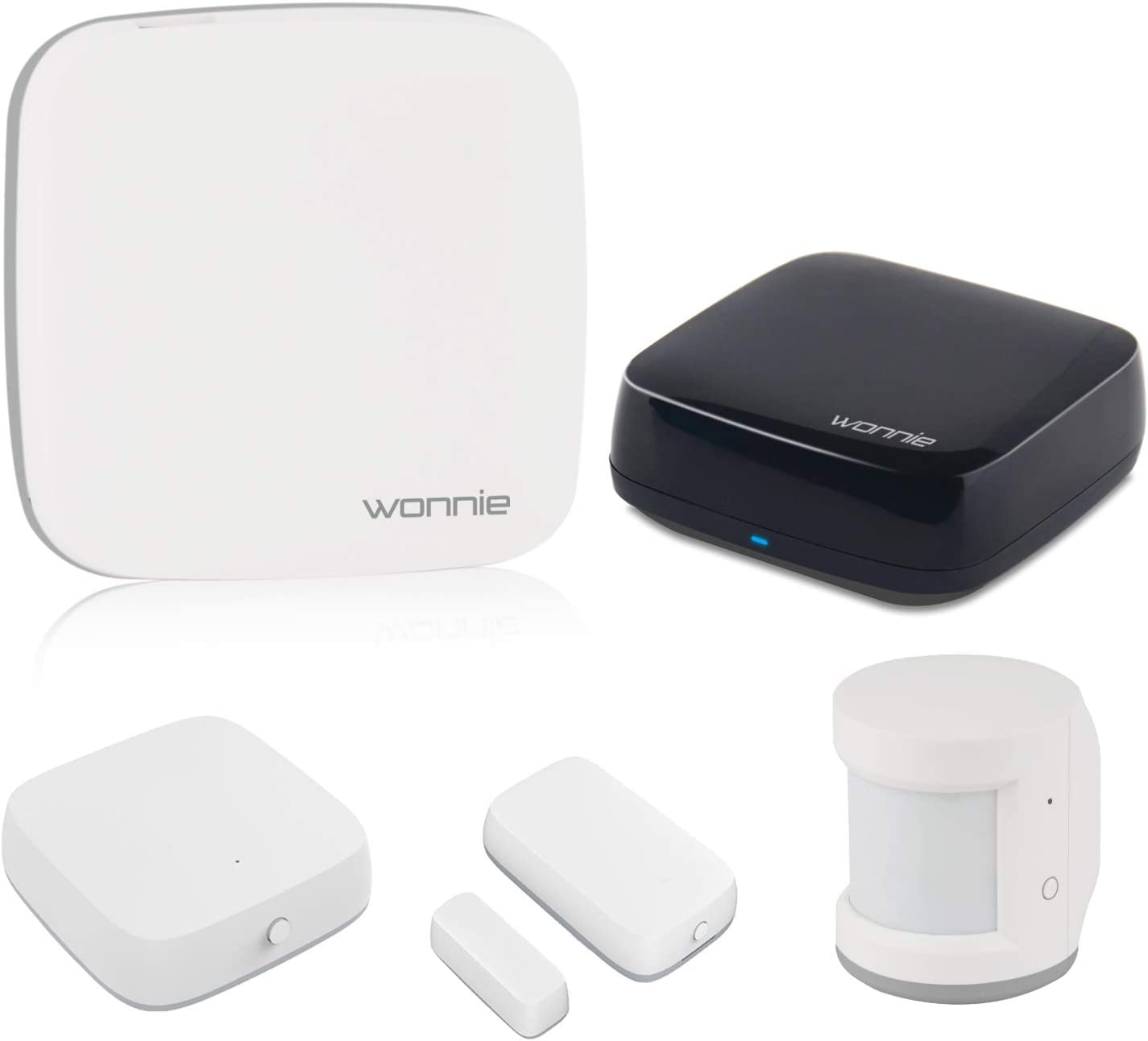WONNIE Wireless Alarm System for Home, Home Monitoring Kit with 24/7 Professional Security System, Work with Alexa and Google Assistant, WiFi Home Automation Hub
