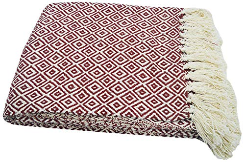 Chardin Home-100% Cotton Diamond Pattern Blanket Throw with Fringe For Chair, Couch, Picnic, Camping, Beach, & Everyday Use , 50