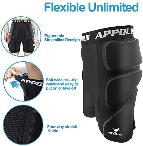 3D Protective Padded Shorts for Snowboard,Skate,Impact Pads Hip Protection