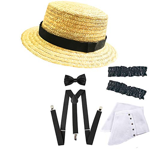 1920 Mens Fashion - 1920s Mens Gangster Gatsby Straw Hat,Gangster