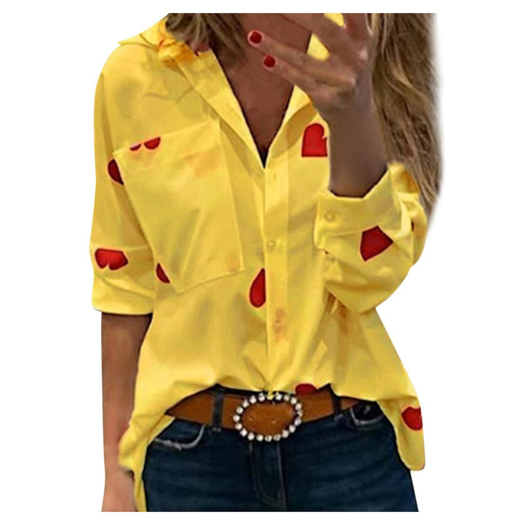 AmyDong Women's Long Sleeve Slim Heart Printed Blouses Deep V-Neck Pocket Lapel Fashion Shirt S-5XL Yellow by AmyDong Women Blouse