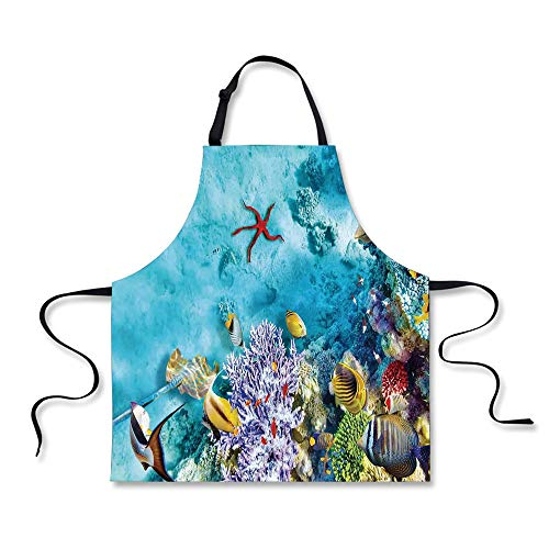 iPrint Cooking Apron,Ocean,Corals Fishes Jellyfish Scatefish