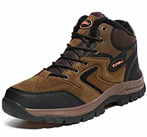 Men Climbing Shoes Autumn Winter New Fleece Lined Warm Unisex Outdoor High Rise Walking Shoes Size 36-48
