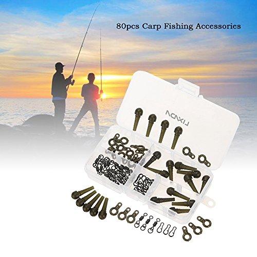 Lixada 80pcs accesorios de pesca kit carpas terminales de pesca set de seguridad mangas Rig Görings anti enredo balanceo broches Snap clips carpa pesca accesorios