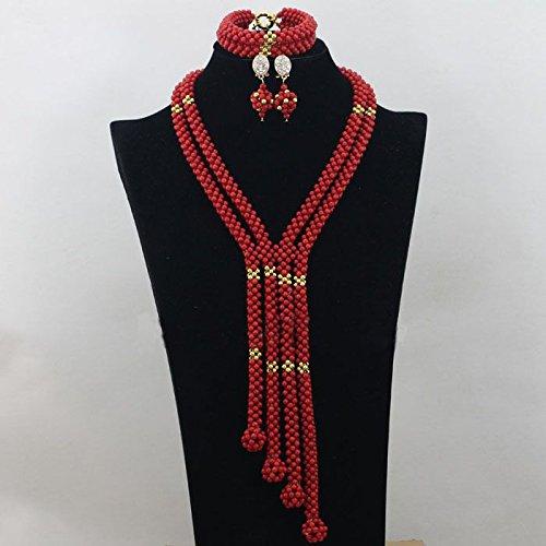 allongée Rouge africain Corail Bijoux Perles Boule avec collier de boucles d'oreilles et bracelet