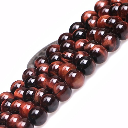 (Red Tiger Eye Beads for Jewelry Making Natural Gemstone Semi Precious 6mm Round 15