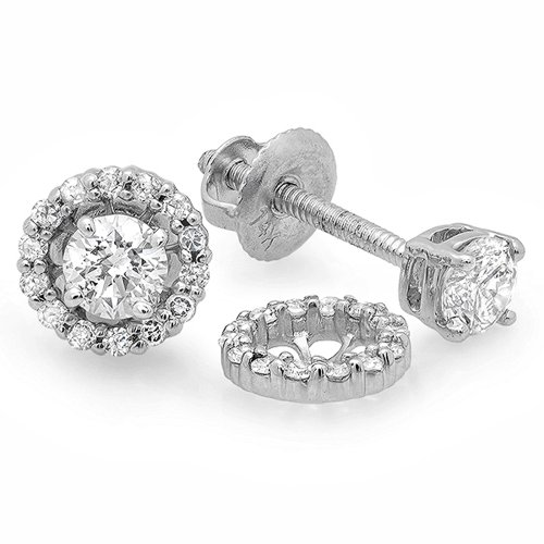Diamond Womens Jacket - 0.45 Carat (ctw) 14K White Gold Round Diamond Ladies Halo Stud Earrings With Removable Jackets 1/2 CT