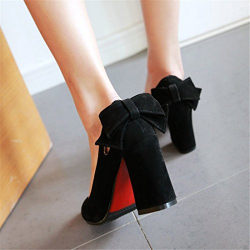 scarpe superficiale scarpe tacchi Sandalette scarpe papillon spillo a donna a solo scarpe solo signore duro punta scarpe da black retro DEDE scarpe solo PwwqZv