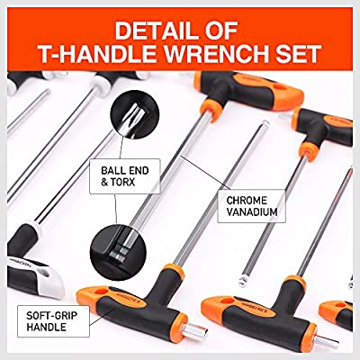 HORUSDY 16-Piece T-Handle allen wrench set 2mm-10mm, Long Arm Ball End Hex Key Wrench Set, Tamper Proof Star Key Set T10-T50, Metric
