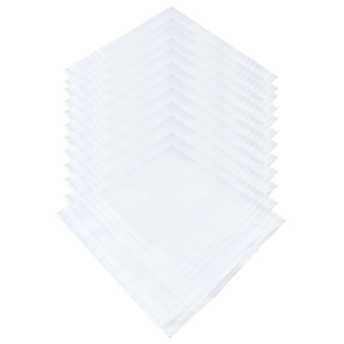 LACS Men's Solid White Cotton Handkerchiefs Pack by LACS Handkerchiefs (Image #3)