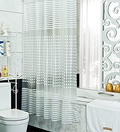 JERN EVA Modern Waterproof Polyester Shower Curtain with 12 Hooks(White, 200x200cm)