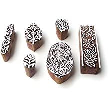 Paisley and Border Jaipuri Motif Wood Print Stamps (Set of 6)