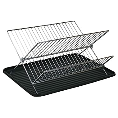 Deluxe Chrome-plated Steel Foldable X Shape 2-tier Shelf Small Dish Drainers with Drainboard (Chrome)