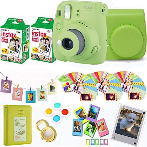 Fujifilm Instax Mini 9 – Lime Instant Camera + Fuji Instax Film 40 Shots + Protective Case + Magnetic Acrylic Frame + Album, Hanging Frames, Desk Frames, Filter Set & Selfie Lens 90 PC Design Kit