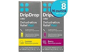 DripDrop ORS Electrolyte Hydration Powder Sticks, Lemon & Berry Flavor 2-Pack, Makes (8) 16oz Servings