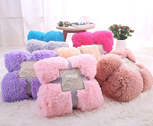 YOUSA Super Soft Long Shaggy Fuzzy Fur Faux Fur Warm Elegant Cozy With Fluffy Sherpa Throw Blanket 63''79'',Wine Red